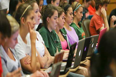 University of Miami students in class.