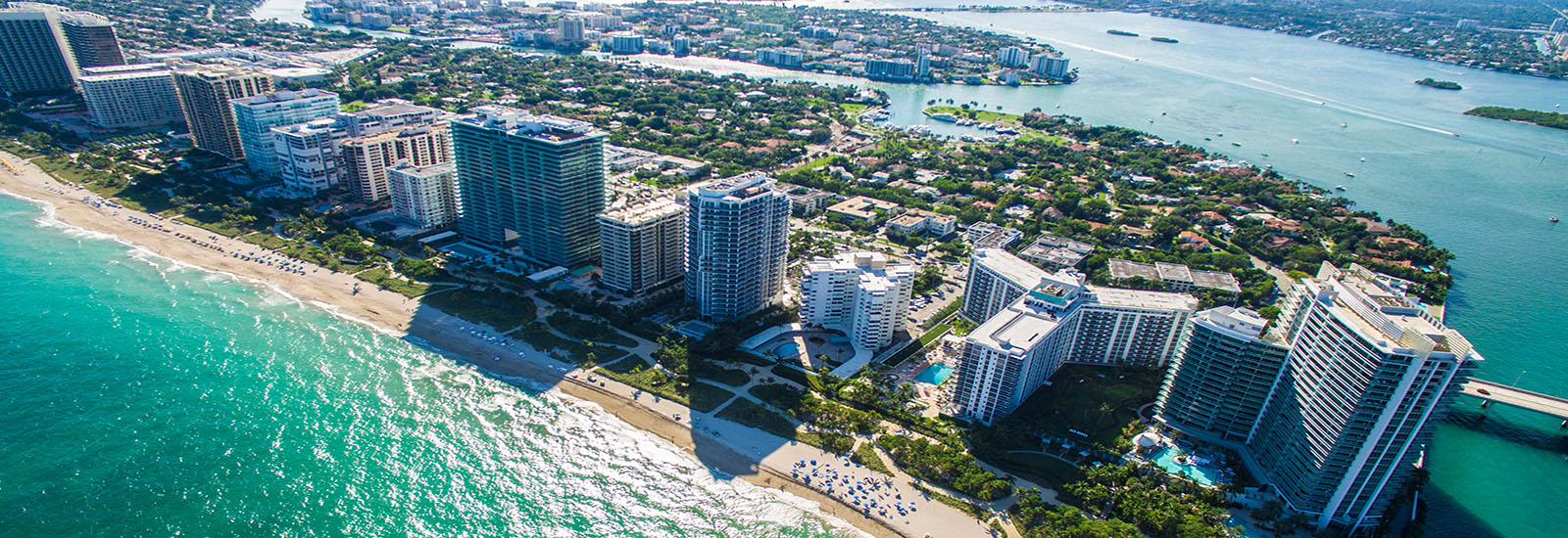 This is a stock photo. An aerial image of the Miami Beach coastline.